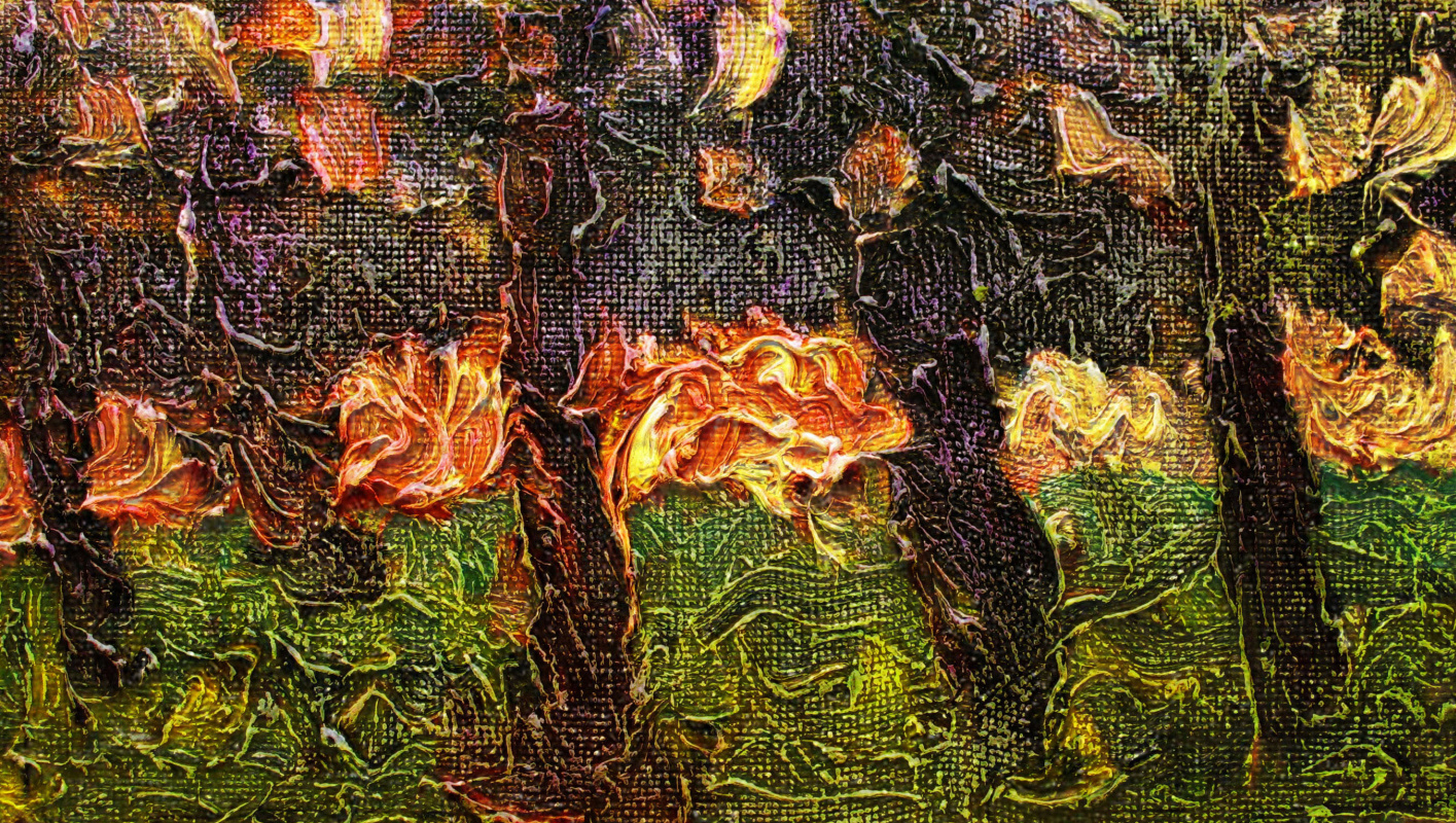 Alexander Ivanovich Vlasyuk. Textures of the evening forest