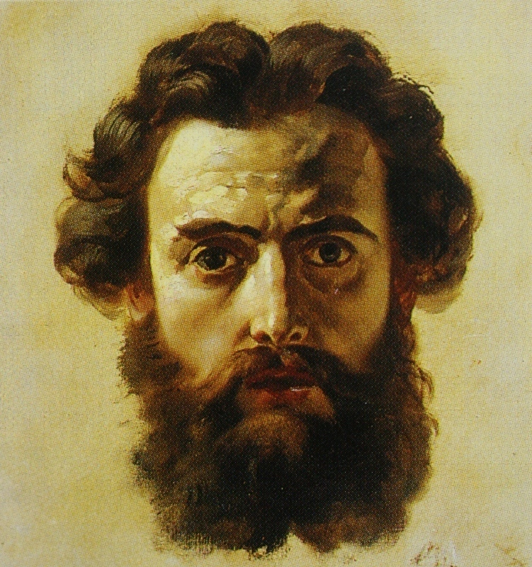 Head of a man. Study for the head of John the Baptist the painting of the Central dome of St. Isaac's Cathedral