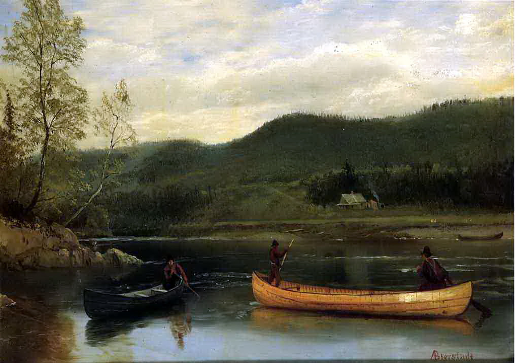 Albert Birštadt. Two men in a canoe
