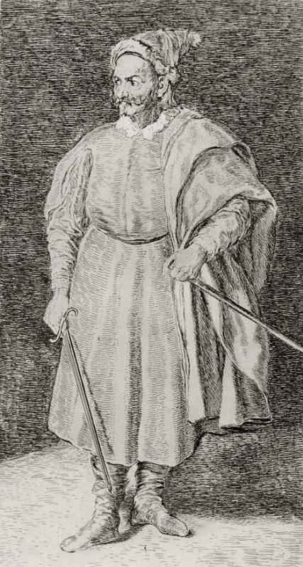 Франсиско Гойя. Портрет шута Кристобаля де Кастанеды и Перния по прозвищу Рыжебородый, с картины Веласкеса