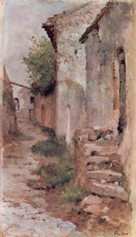 Giovanni Fattori. Village street