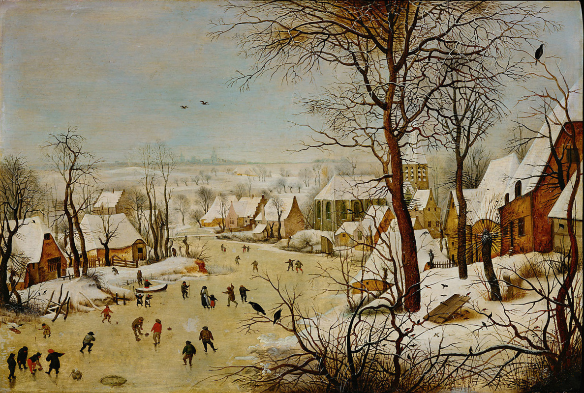 Peter Brueghel the Younger. Winter landscape with a bird trap