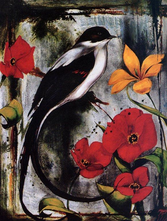 Птица и цветы