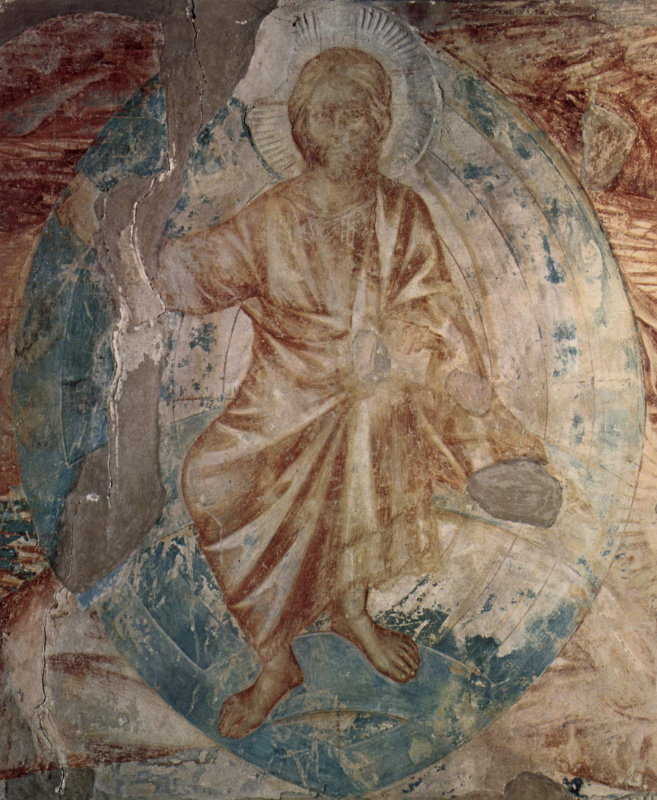 Cheney di Pepo Cimabue. The frescoes of the Upper Church of San Francesco in Assisi, South cross nave: Apocalypse. Detail: Christ Pantocrator