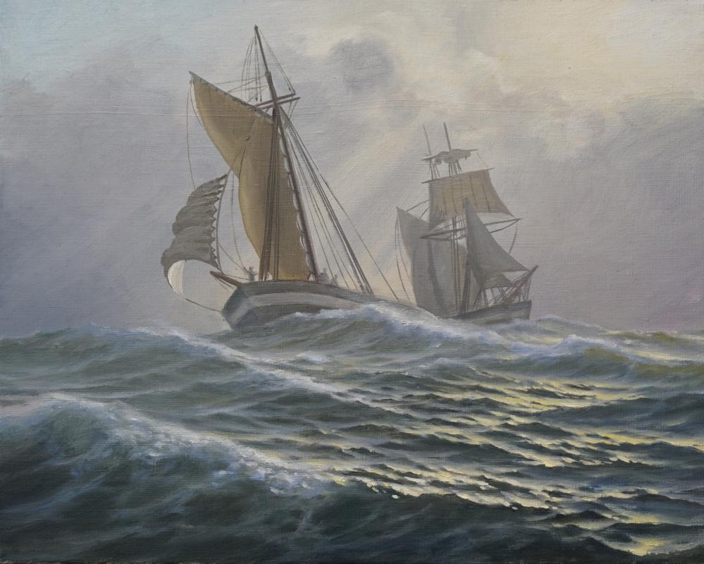 Valentin Vasilievich Vlaschenko. Sailboats at sea.