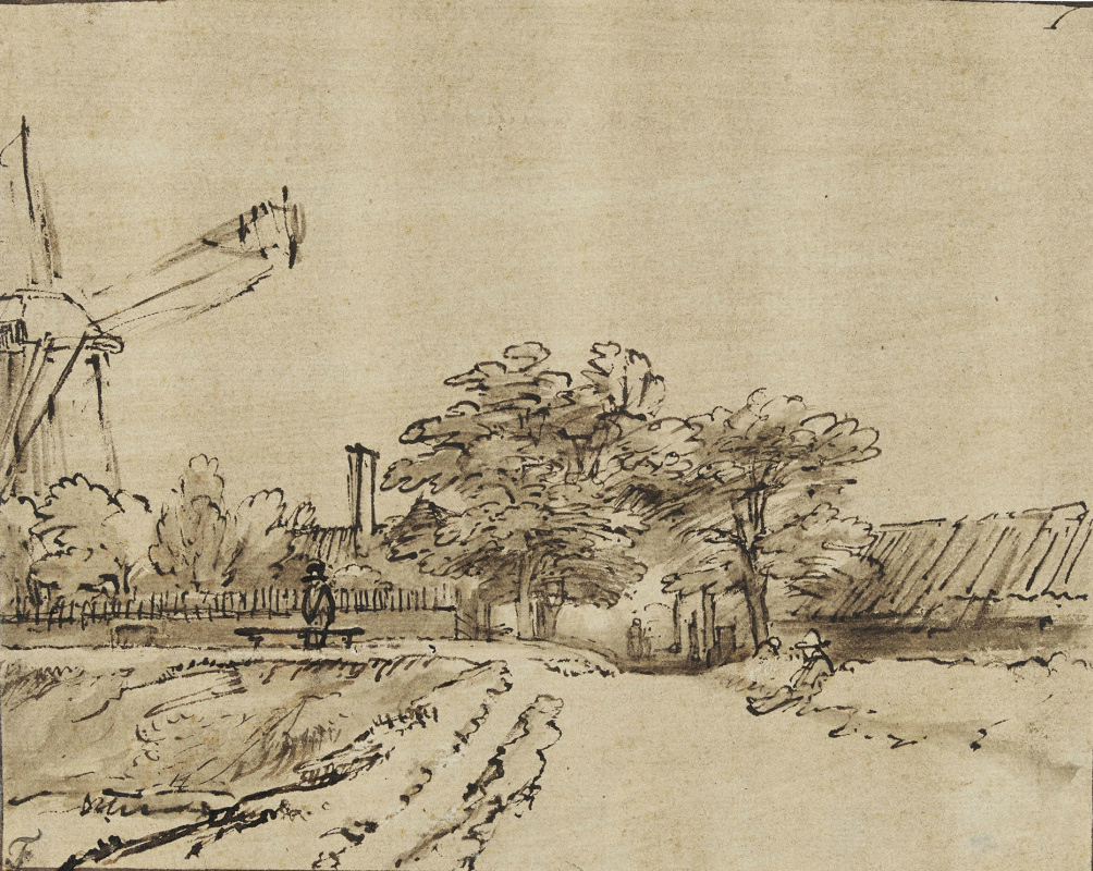 Rembrandt Harmenszoon van Rijn. The windmill at the gate of St. Anthony, Amsterdam