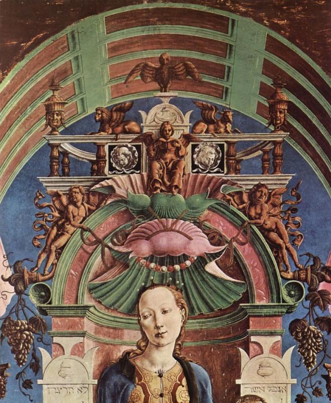 Козимо Тура. Алтарь Роверелла для Санта Джорджио в Ферраре, центральная часть, сцена: Мадонна на троне и музицирующий ангел, деталь