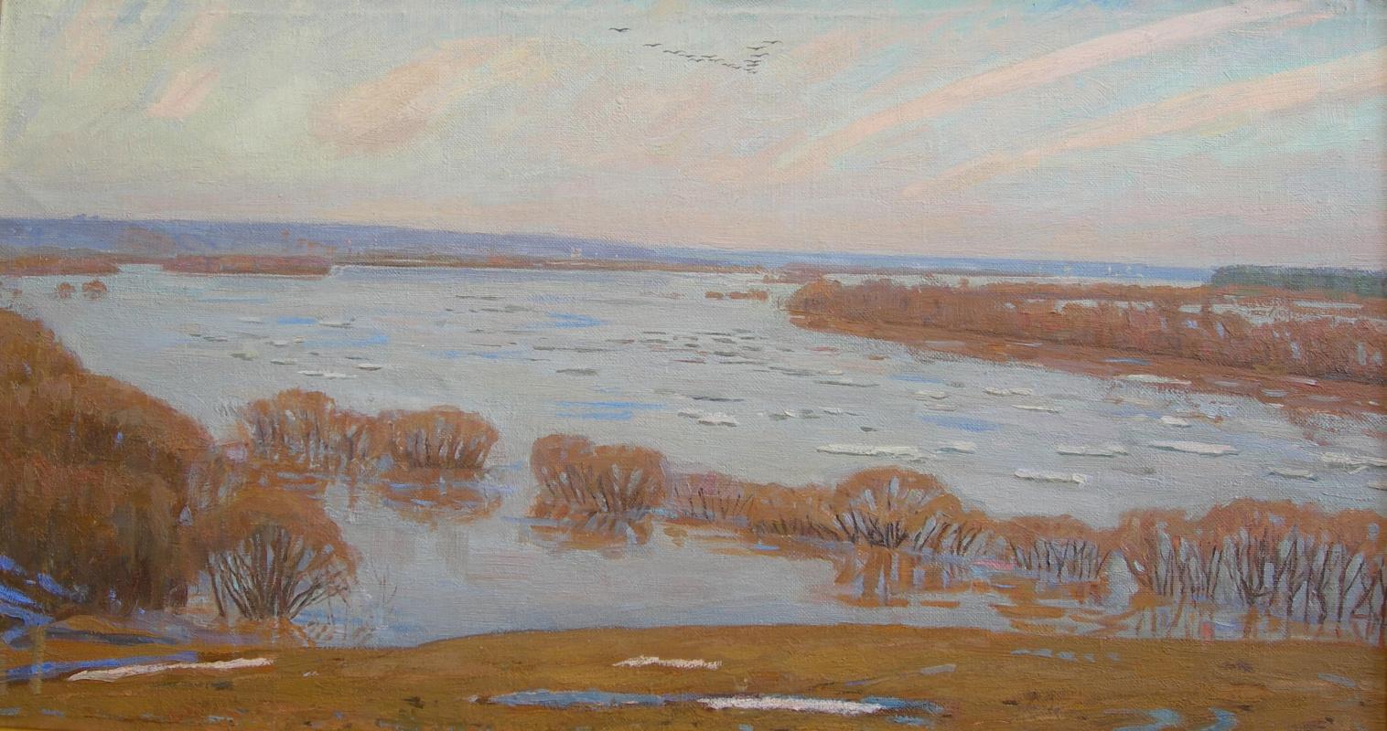 Eugene Alexandrovich Kazantsev. In the spring on the Oka. Big water.