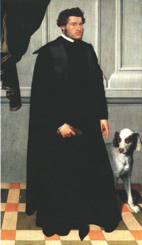 The man in black and a dog
