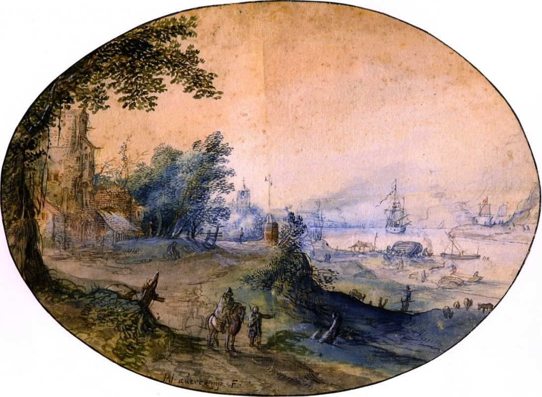 Hendrik Avercamp. Landscape with buildings on a river