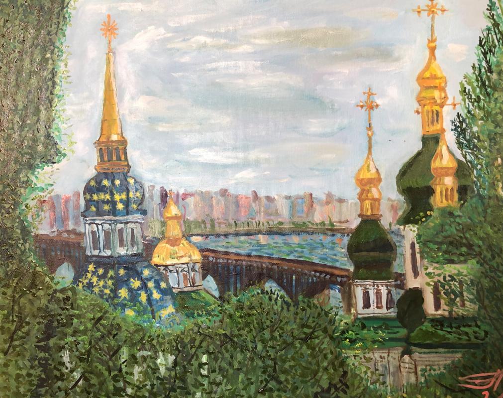 Sergey Vladimirovich Sebini. Spring Kiev. View from Pechersk to the Left Bank.