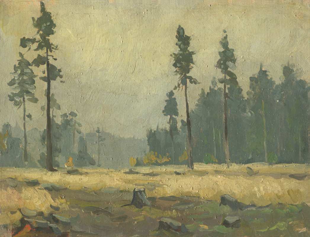Alexandrovich Rudolf Pavlov. Behind the dark forest, Mannerheim Line, sketch, oil on canvas. 1961