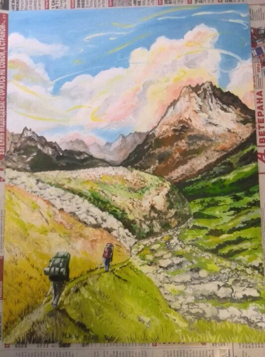 Oia Nikolavna Nagovitsyna. Mountain hike in Kyrgyzstan, oil on canvas on cardboard