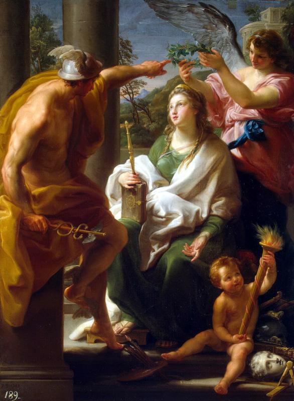 Pompeo Batoni. Mercury crowning Philosophy