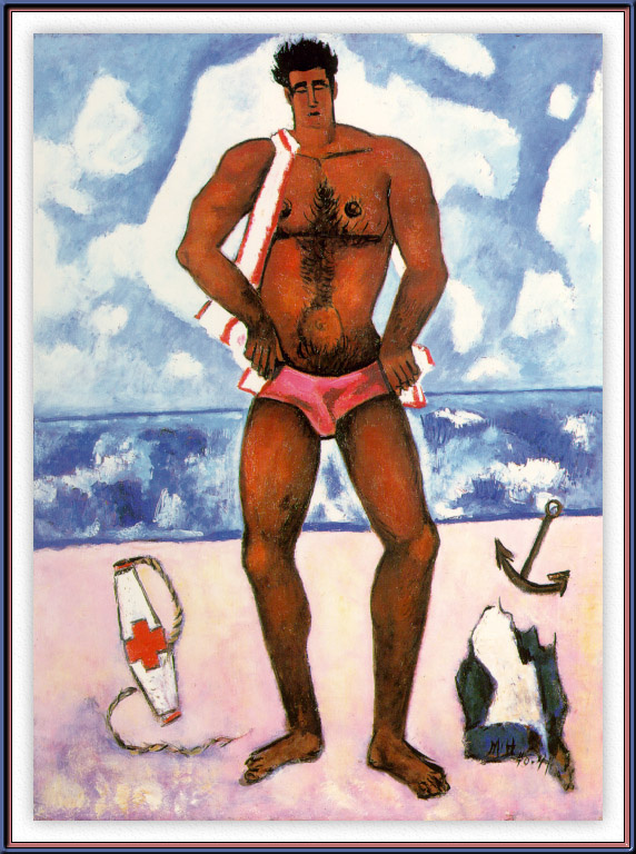 Marsden Hartley. A man in a pink speedo on the beach