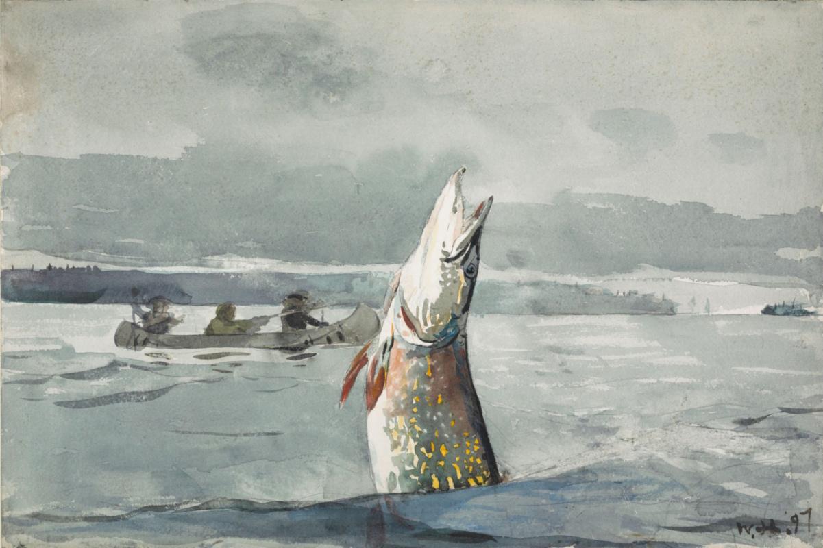 Winslow Homer. Pike on lake St. John