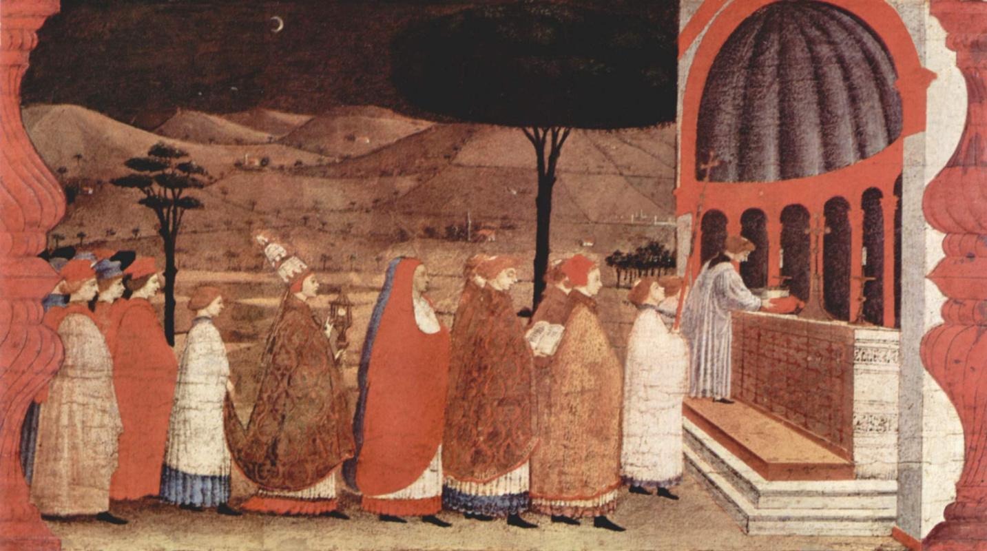 Paolo Uccello. The legend of the communion. The host perenositsya to Church for secondary consecration