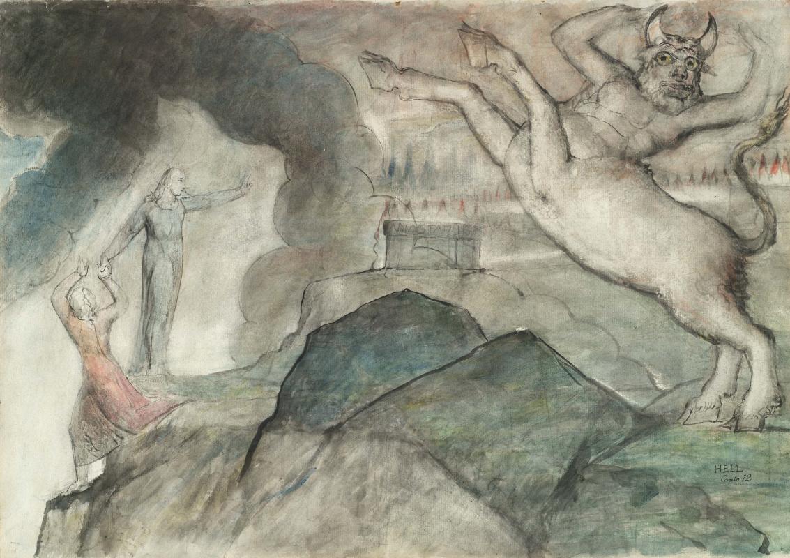"William Blake. Minotaur. Illustrations for ""the divine Comedy"""