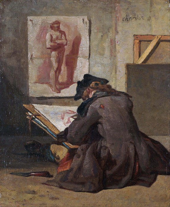 Jean Baptiste Simeon Chardin. The young draftsman copies academic studies