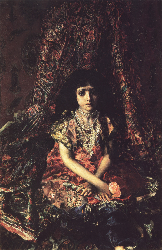 Mikhail Vrubel. Girl against a Persian carpet