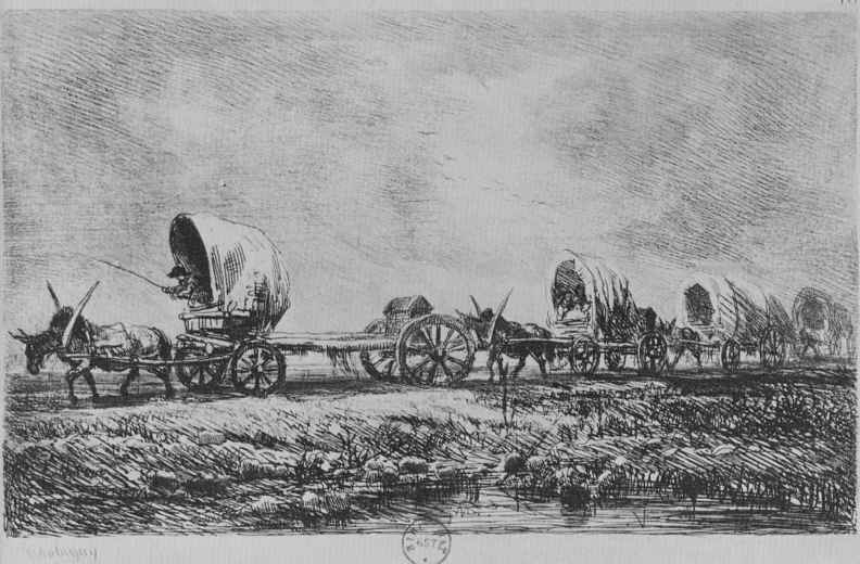Charles-Francois Daubigny. A string of carts