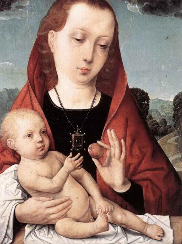 Хуан Де Фландес. Мадонна с младенцем перед пейзажем