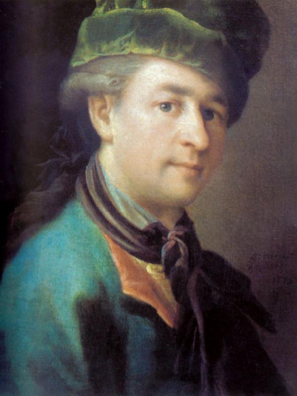 Петр Семенович Дрождин. Портрет молодого человека в голубом кафтане