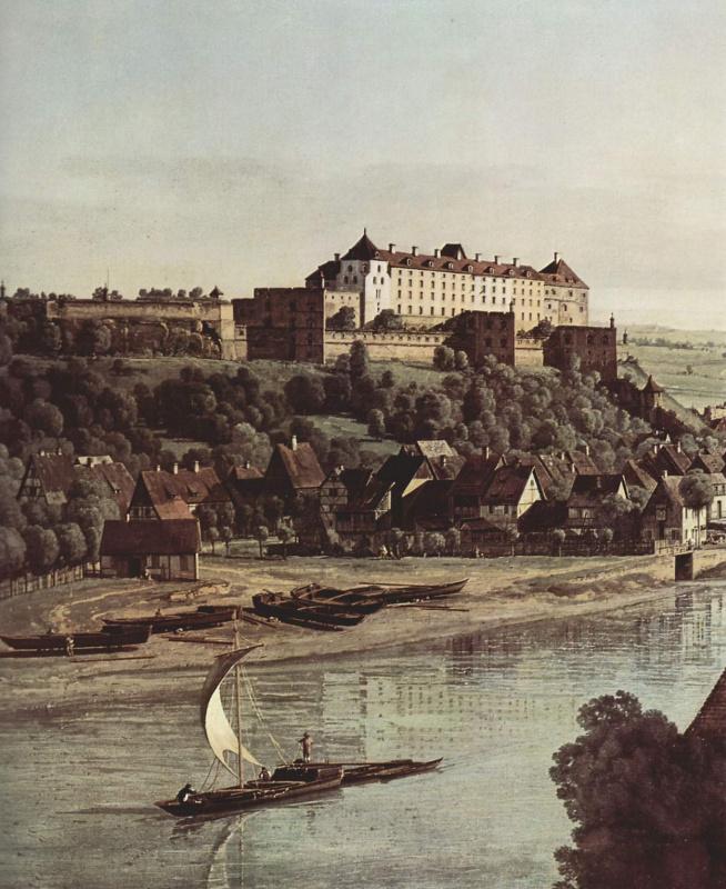 Джованни Антонио Каналь (Каналетто). Вид Пирны с крепостью Зонненштайн с горы Вайнберг, фрагмент
