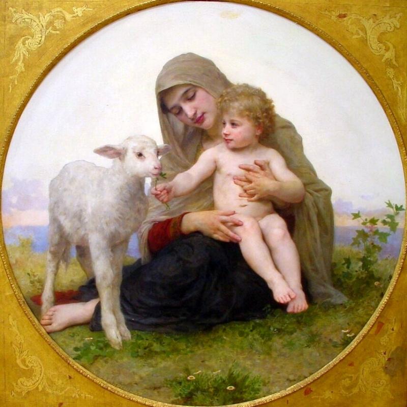 Вильям Адольф Бугро. Дева с младенцем и ягненком
