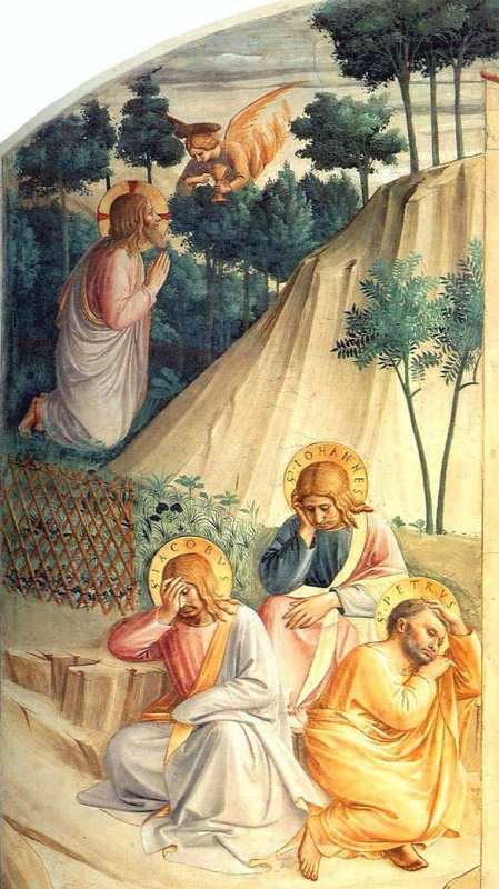Fra Beato Angelico. Christ in the Garden of Gethsemane. Fragment of the Prayer of the Chalice fresco of the monastery of San Marco, Florence