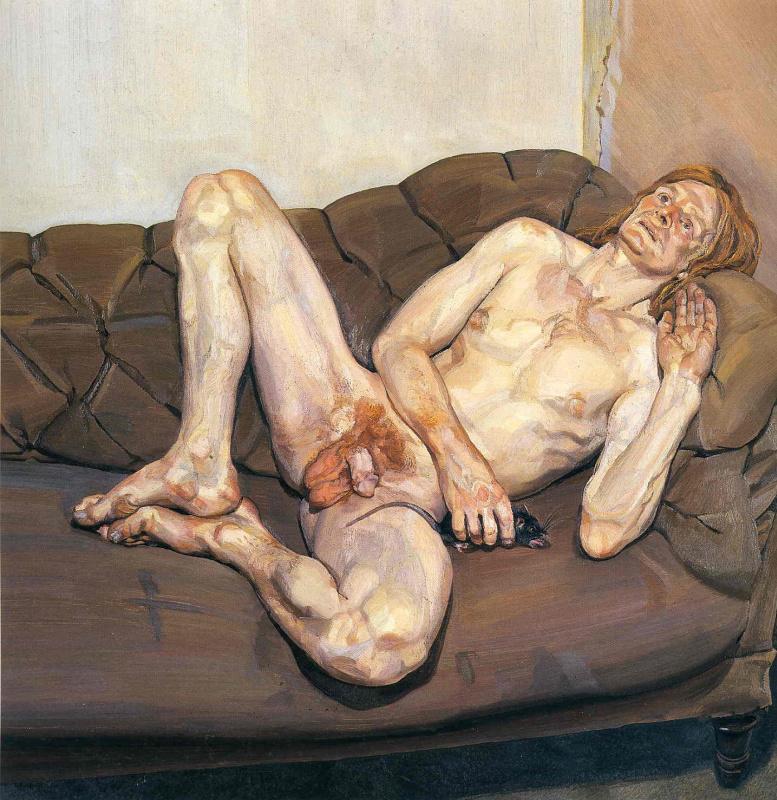 Люсьен Фрейд. Обнаженный мужчина с крысой