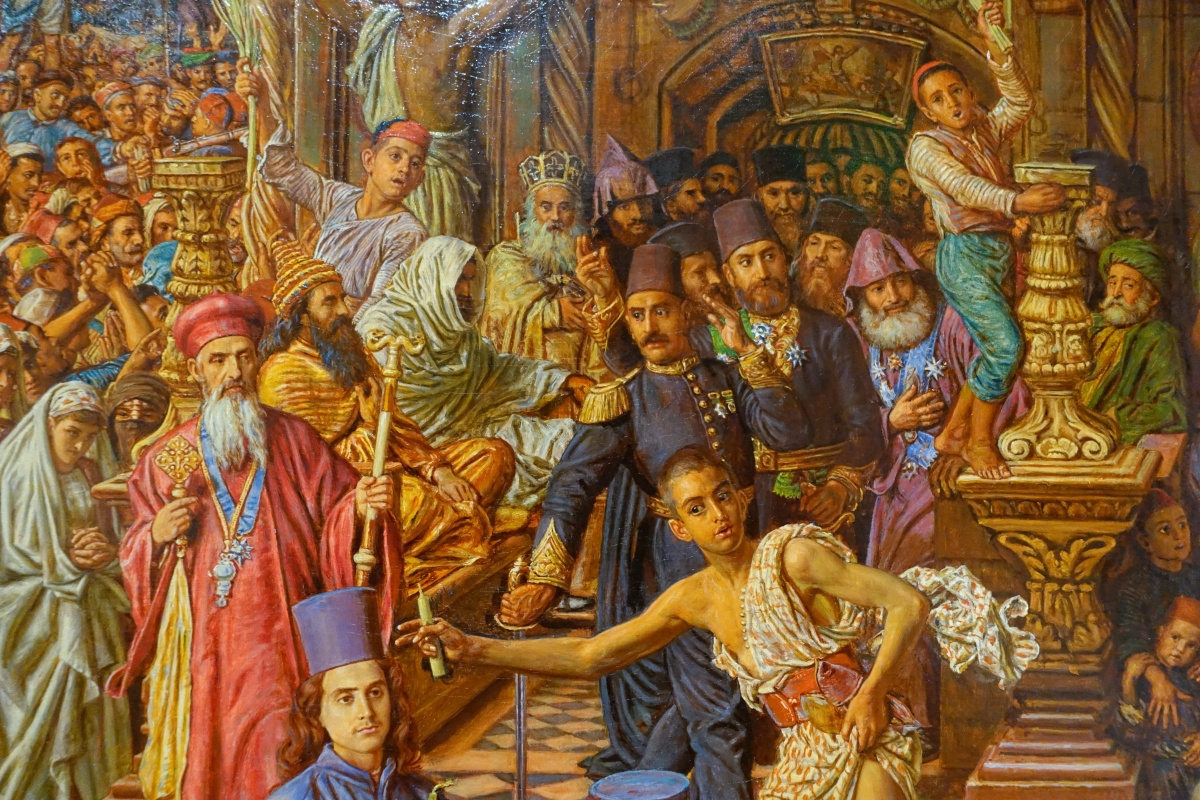 William Holman Hunt. The miracle of the sacred fire, Church of the Holy Sepulchre. Fragment VIII