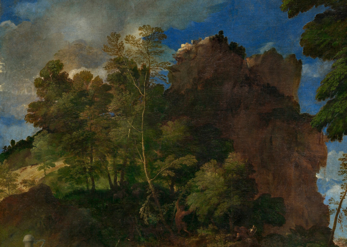 Titian Vecelli. Feast of the gods (with Giovanni Bellini). Fragment 6. Mountain landscape
