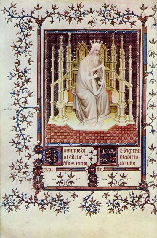 Андре Боневе. Царь Давид. Фрагмент Псалтыри из Буржуа герцога Жана Беррийского