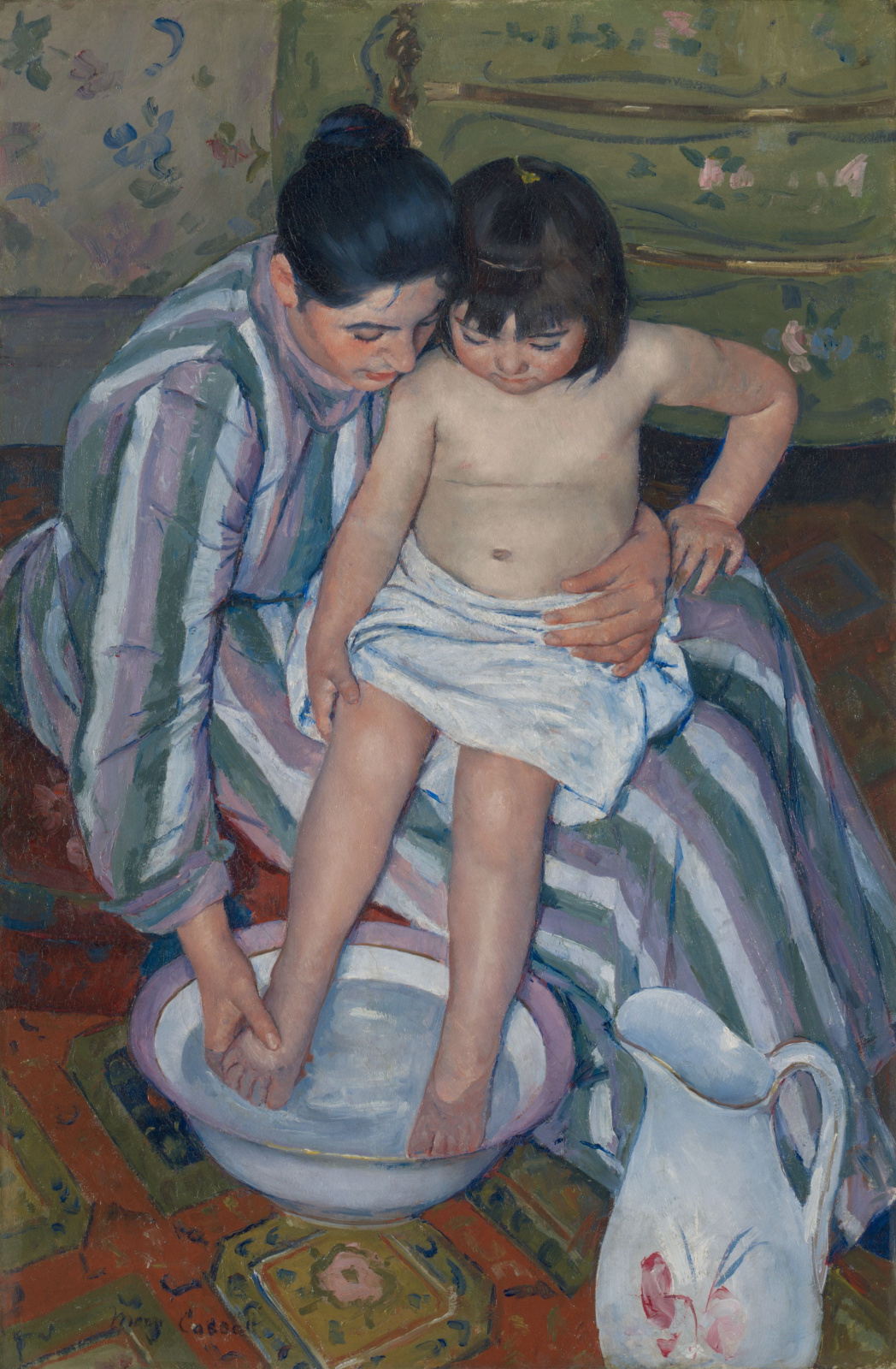 Mary Cassatte. Baby bathing