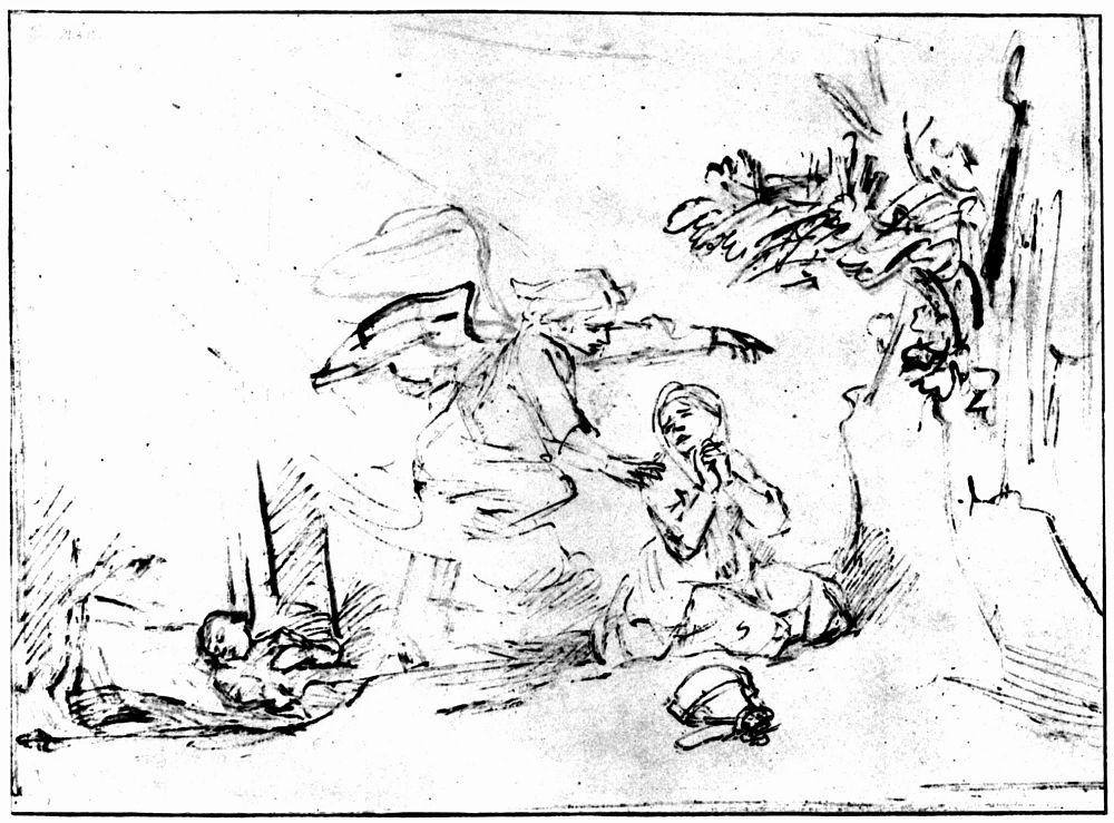 Рембрандт Харменс ван Рейн. Ангел указывает Агари спасительный источник