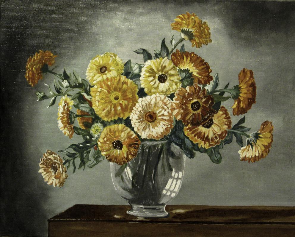 Artashes Badalyan. Kennedy. Marigolds in a glass vase (multi-layer copy) - xm - 40x50