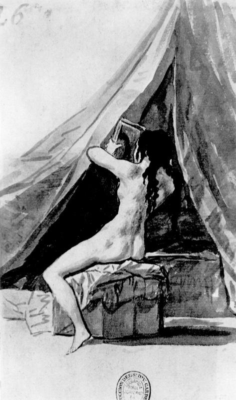 Франсиско Гойя. Мадридский альбом [20]: Обнаженная натурщица с зеркалом, со спины, или После ванны