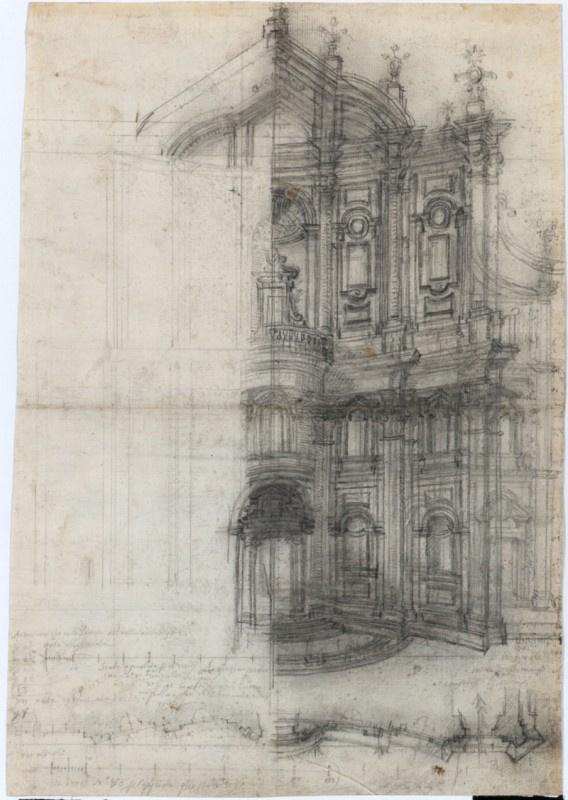 Рим, Оратория Святого Филиппа Нери, фасад, пересмотренный вариант для публикации «Opus Architectonicum»