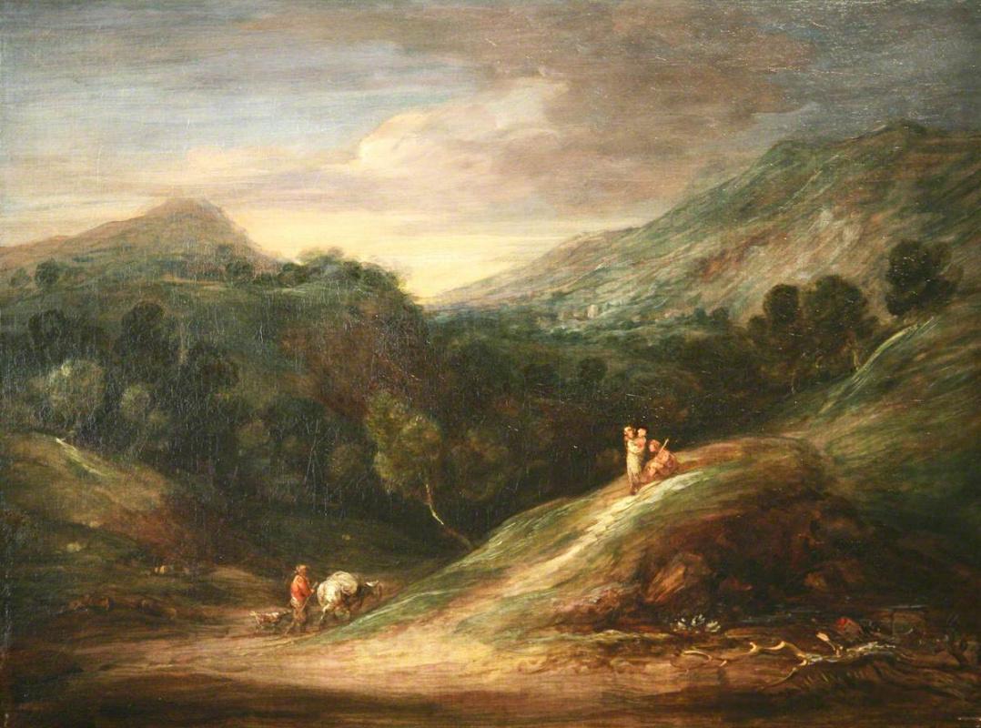 Томас Гейнсборо. Панорамный пейзаж с холмами и лесом