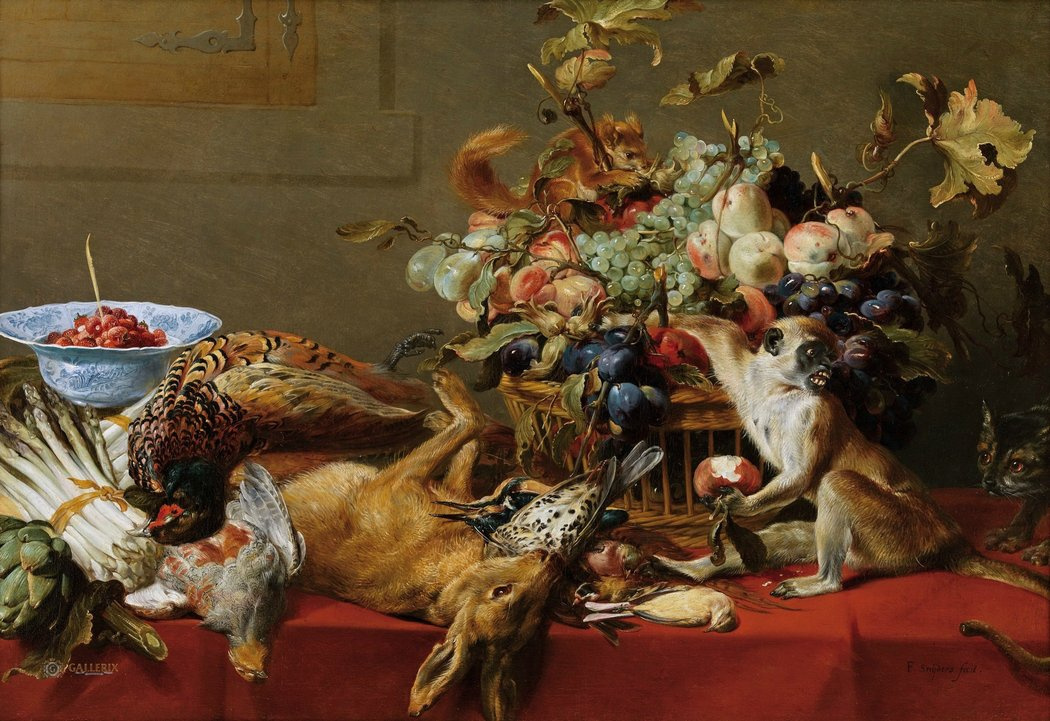 France Snyders. Still life with a monkey