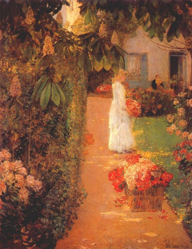 Чайльд Гассам. Сбор цветов в французском саду