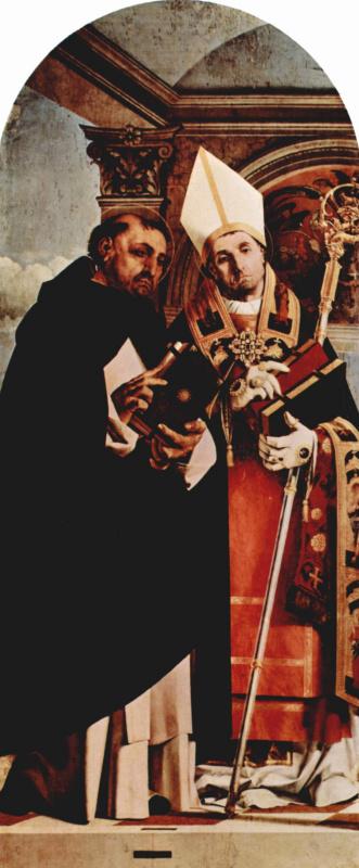 Лоренцо Лотто. Алтарный полиптих Реканати, левая створка. Св. Фома Аквинский и св. Флавиан