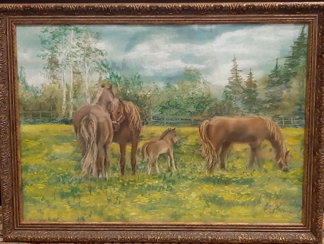 Lyudmila Alexandrovna Rossamakhina. Finnish landscape with horses