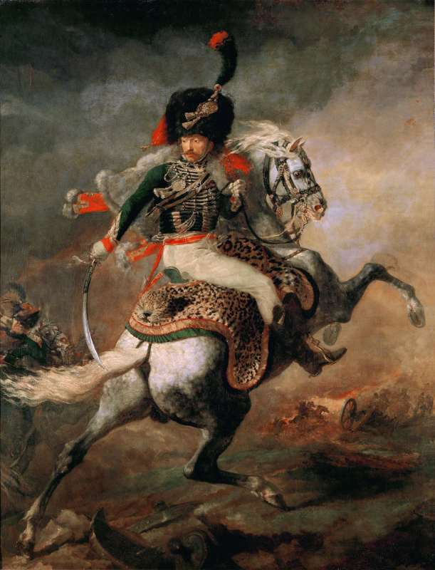 Théodore Géricault. The officer mounted Chasseurs of the Imperial guard, going on the attack