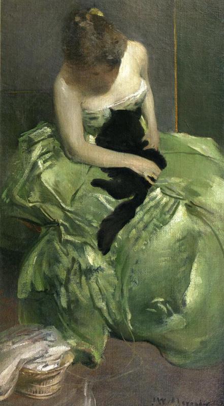 Джон Уайт Александер. Зеленое платье