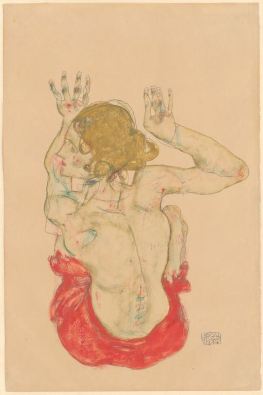 Сидящая обнажённая в красной юбке, вид со спины