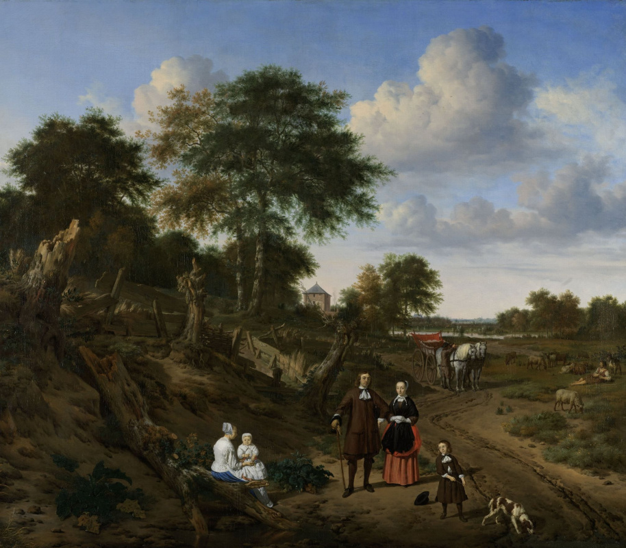 Adrian van de Velde. Couple with two children and a nanny in a landscape