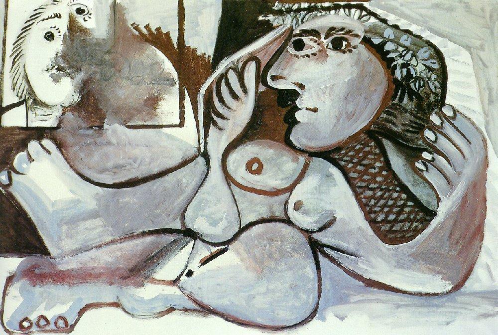 Пабло Пикассо. Лежащая обнаженная с венком