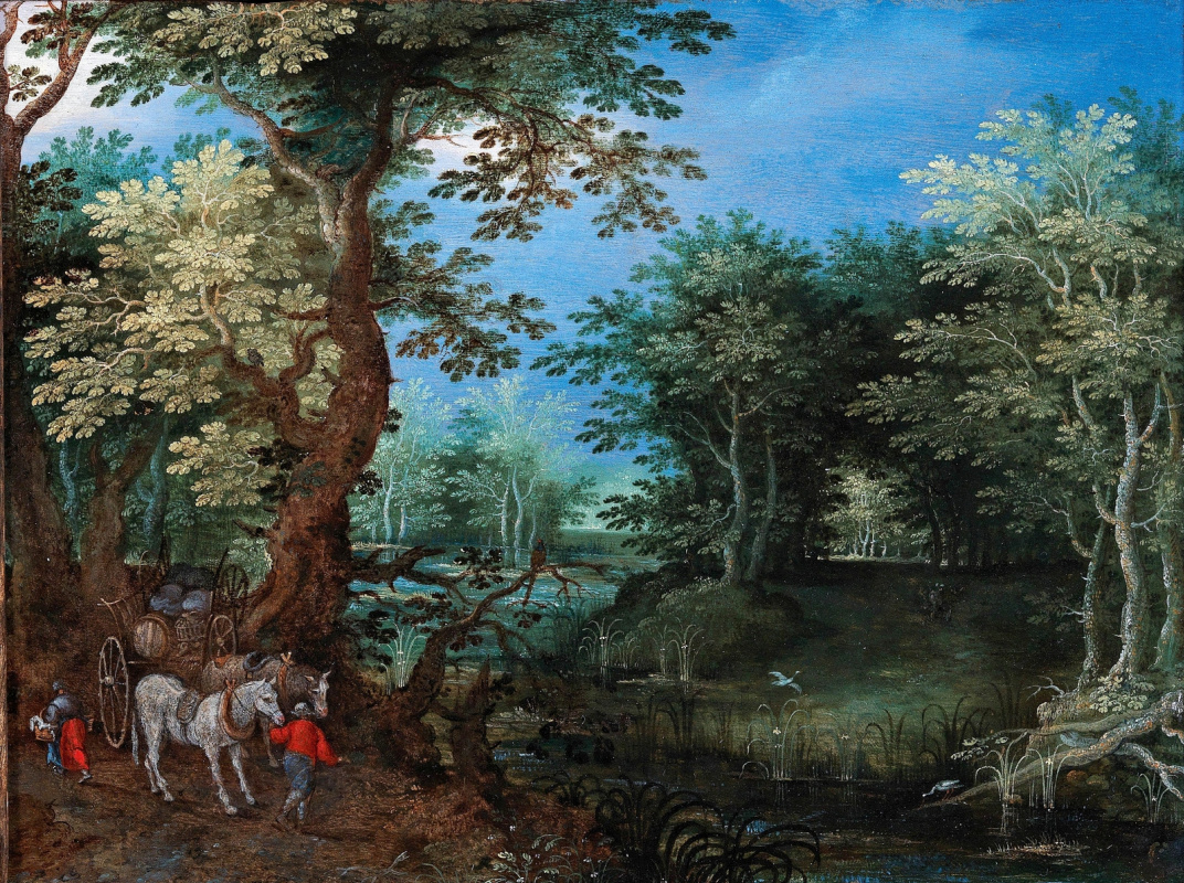 Jan Bruegel The Elder. Forest landscape with a wagon